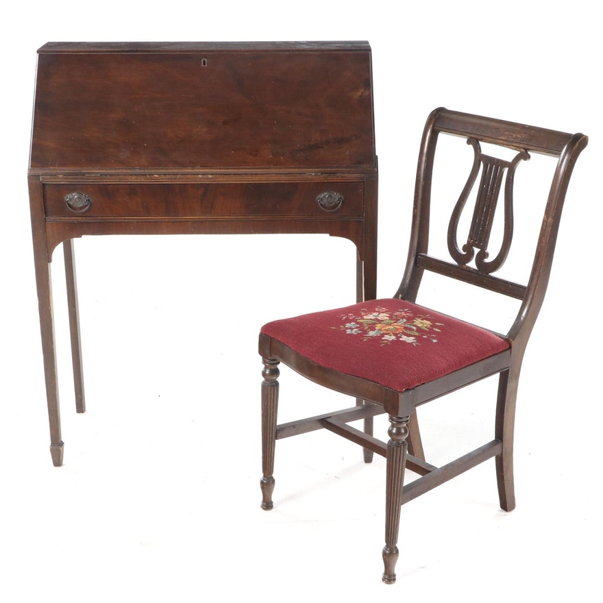 Federal Style Mahogany Slant-Front Desk Plus Side Chair, 20th Century