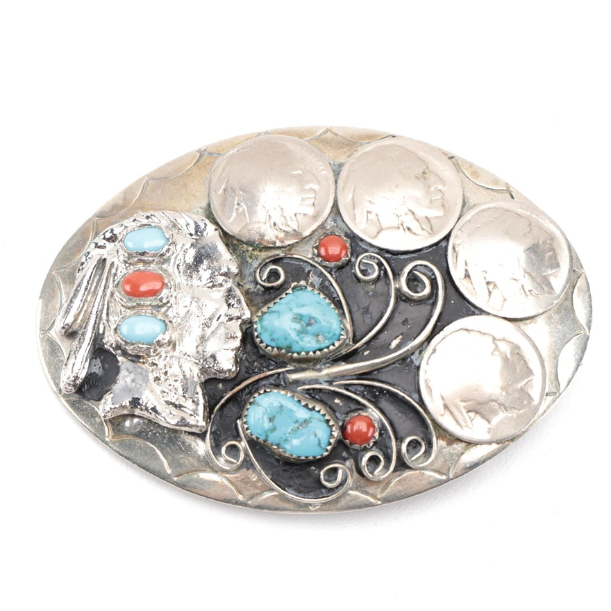 Signed German Silver by Squaw Wrap Buffalo Nickel Belt Buckle