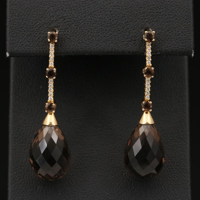 18K Smoky Quartz and Diamond Drop Earrings