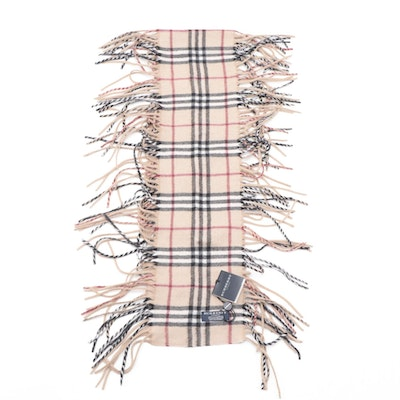 "Burberry Happy Tan ""House Check"" Cashmere Scarf"