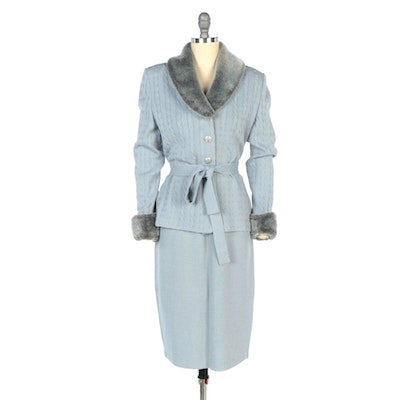 St. John Collection by Marie Gray Santana Knit Cornflower Blue Jacket and Skirt