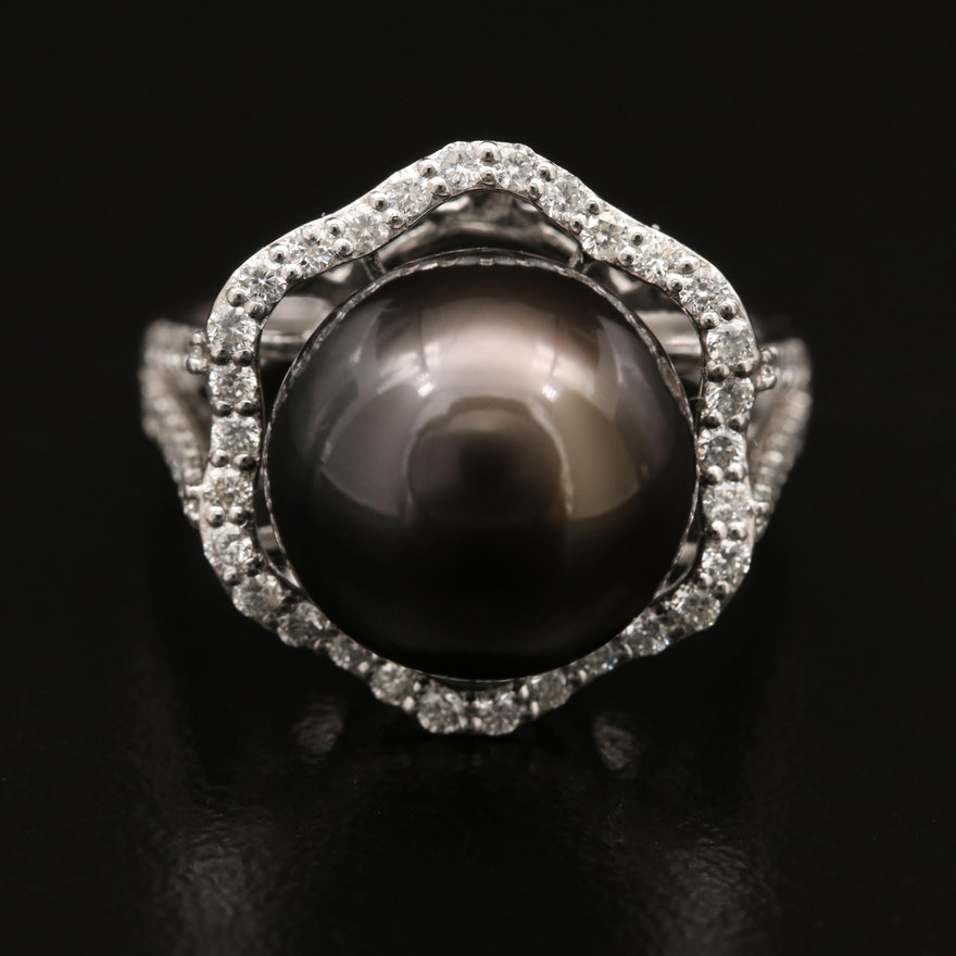 Platinum Black Pearl and Diamond Ring