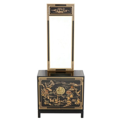 "Drexel Heritage ""Et Cetera"" Chinoiserie Black Lacquer Cabinet and Mirror"