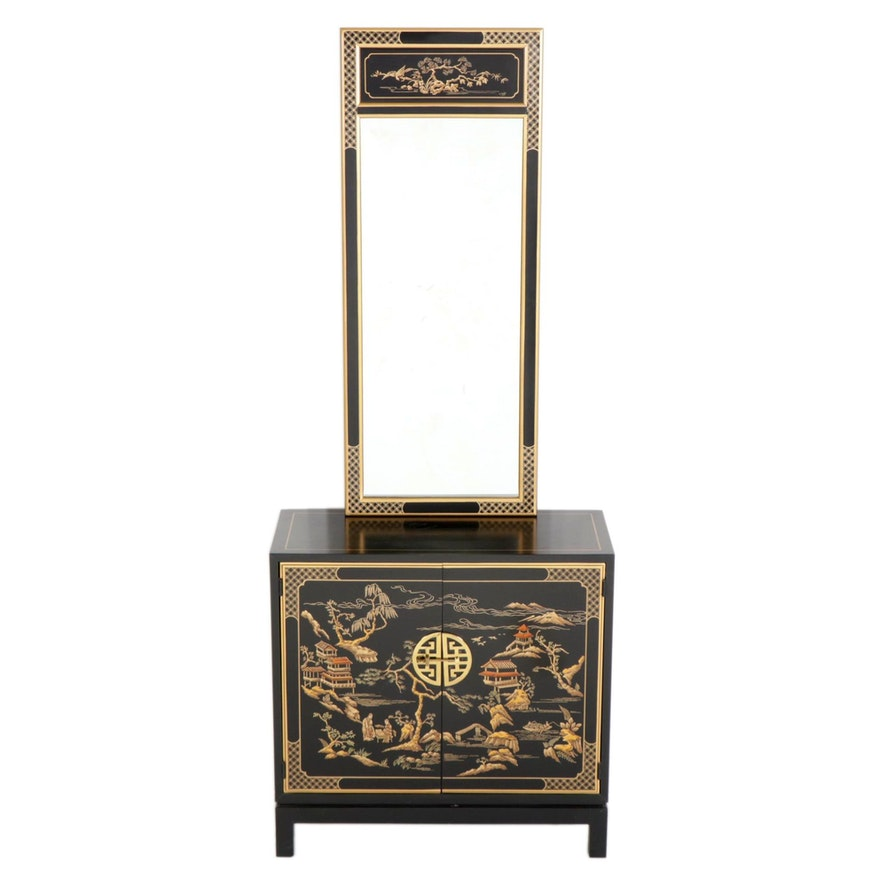 """Drexel Heritage """"Et Cetera"""" Chinoiserie Black Lacquer Cabinet and Mirror"""