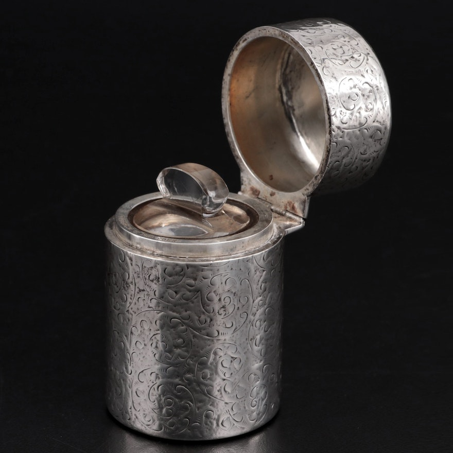 Horton & Allday for Tiffany Chased Sterling Silver Powder Container, 1889