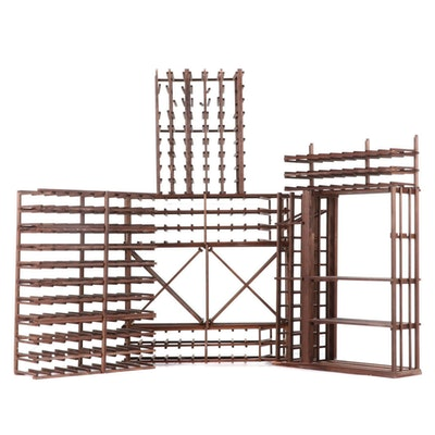Sectional Pine Wood Wine Storage Rack System