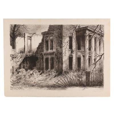 "Harry A. Davis Lithograph ""Caleb Blood Smith Mansion, R.I.P. 1840 - 1971"""
