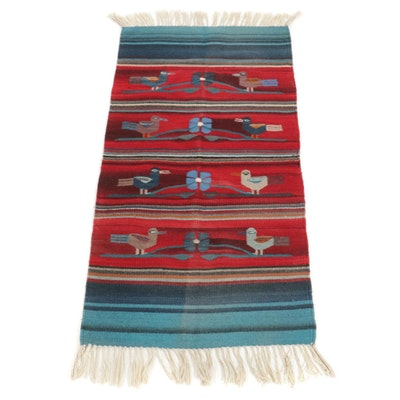 2'6 x 5'7 Handwoven Mexican Zapotec Style Pictorial Rug