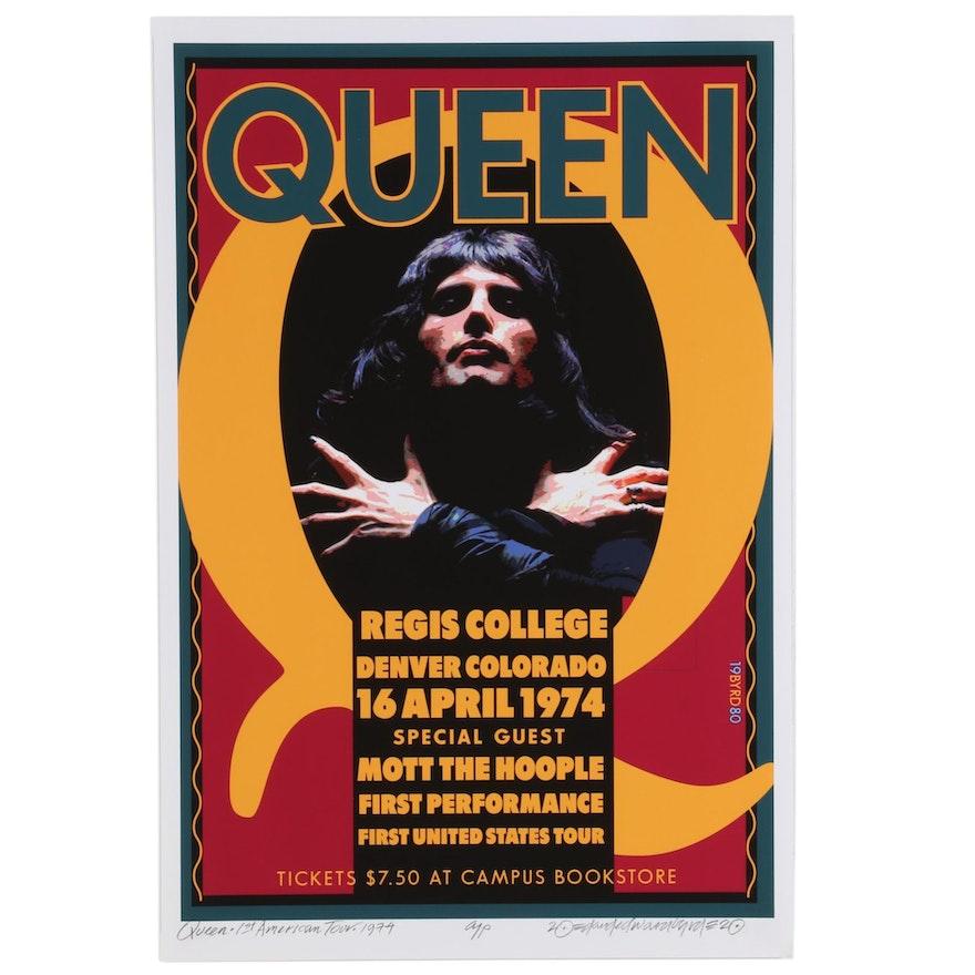 "David Edward Byrd Giclée ""Queen First Tour at Regis College, Denver 1974,"" 2020"