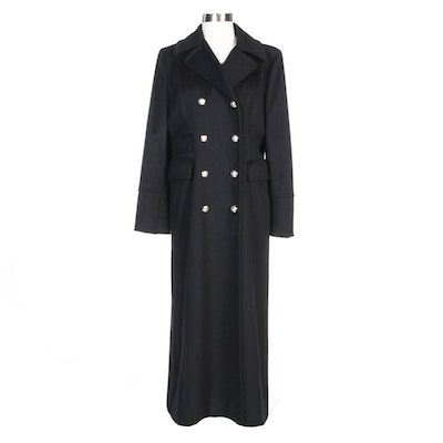 MICHAEL Michael Kors Black Wool Double-Breasted Full-Length Coat