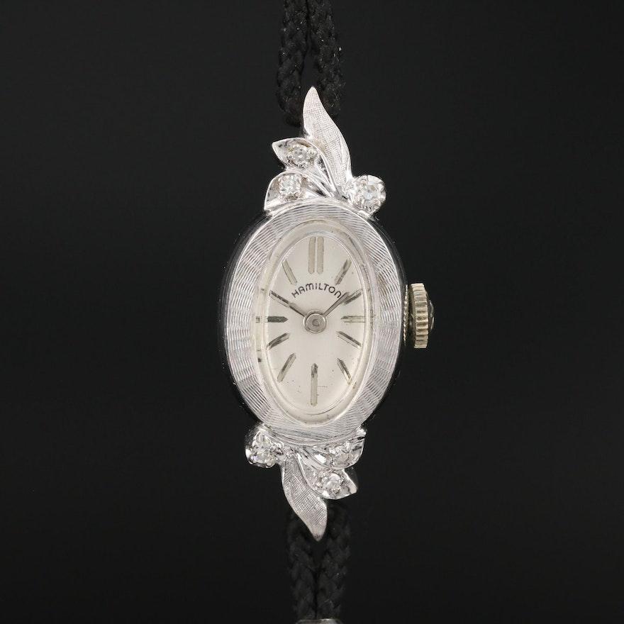 14K Gold and Diamond Hamilton Stem Wind Wristwatch