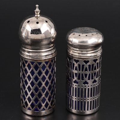 English Cobalt Glass Shakers with Silver Plate Overlay, 20th Century