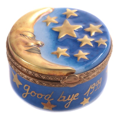 "Rochard Hand-Painted ""Goodbye 1999 Hello 2000"" Limoges Box"