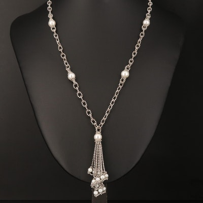 14K Pearl Station Necklace with Spiral Drop