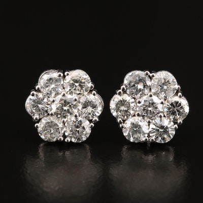 14K 3.64 CTW Diamond Cluster Earrings