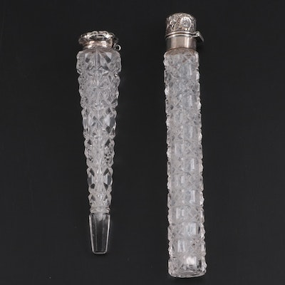 La Pierre Sterling Silver and Cut Glass Perfume Vial and Other Perfume Vile