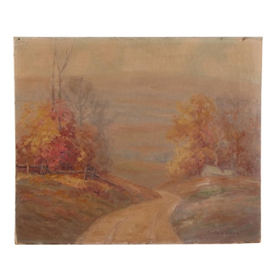 """Leota W. Loop Oil Painting """"Over the Hills and Far Away,"""" Early-Mid 20th Century"""