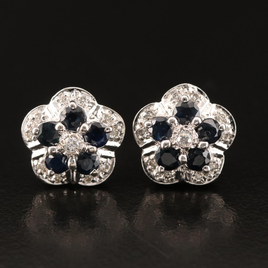 14K Sapphire, Cubic Zirconia and Diamond Cluster Earrings