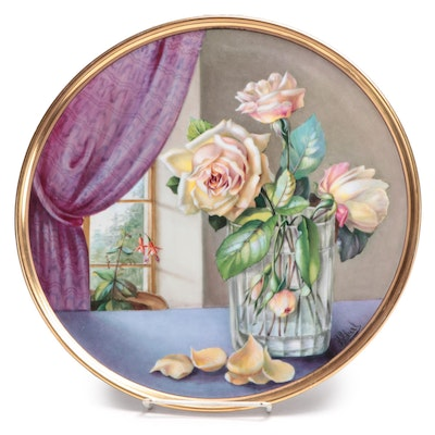Artist Signed Hand-Painted Porcelain Cake Plate with Floral Still Life