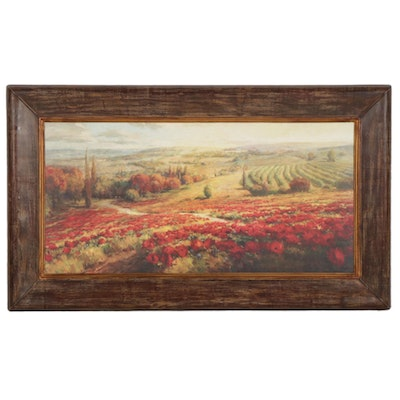 Offset Lithograph of Italian Poppy Field