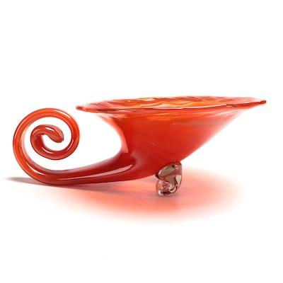 Murano Style Blown Art Glass Cornucopia Spiral Bowl