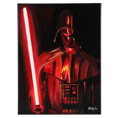 Chris Cargill Acrylic Painting of Darth Vader Portrait