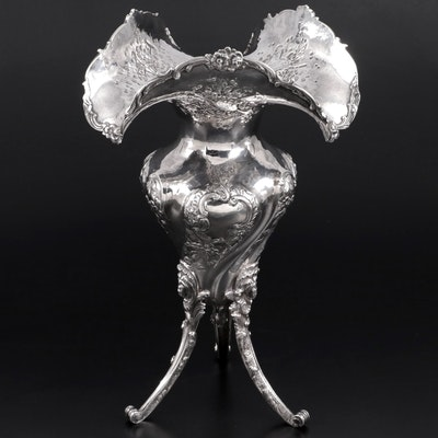 Emile Delaire French Sterling Silver Ruffled Rim Footed Vase