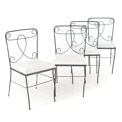 Four Mid Century Modern Painted and Scrolled Wire Patio Side Chairs