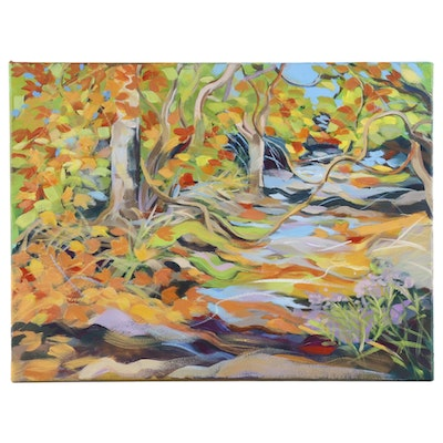 Sheila Bonser Impressionist Style Oil Painting of Autumn Forest Landscape