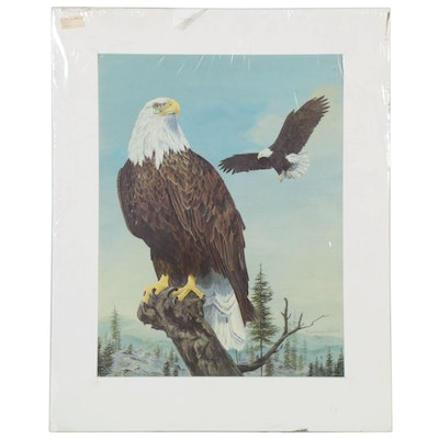 Catherine Girard Offset Lithograph of Bald Eagle, Late 20th Century