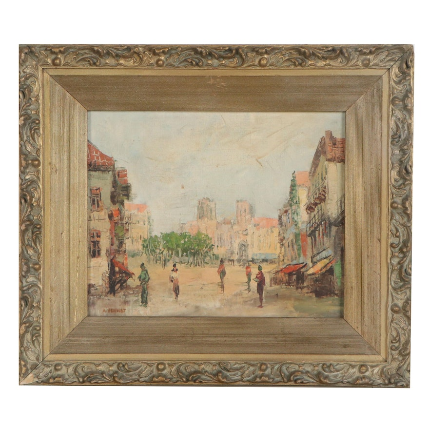 Oil Painting of Sunny Village Square, 20th Century
