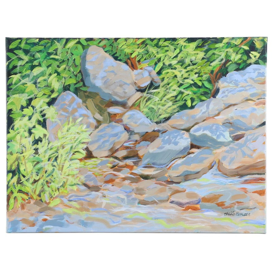 Sheila Bonser Impressionist Style Oil Painting of Rocky Creek Scene