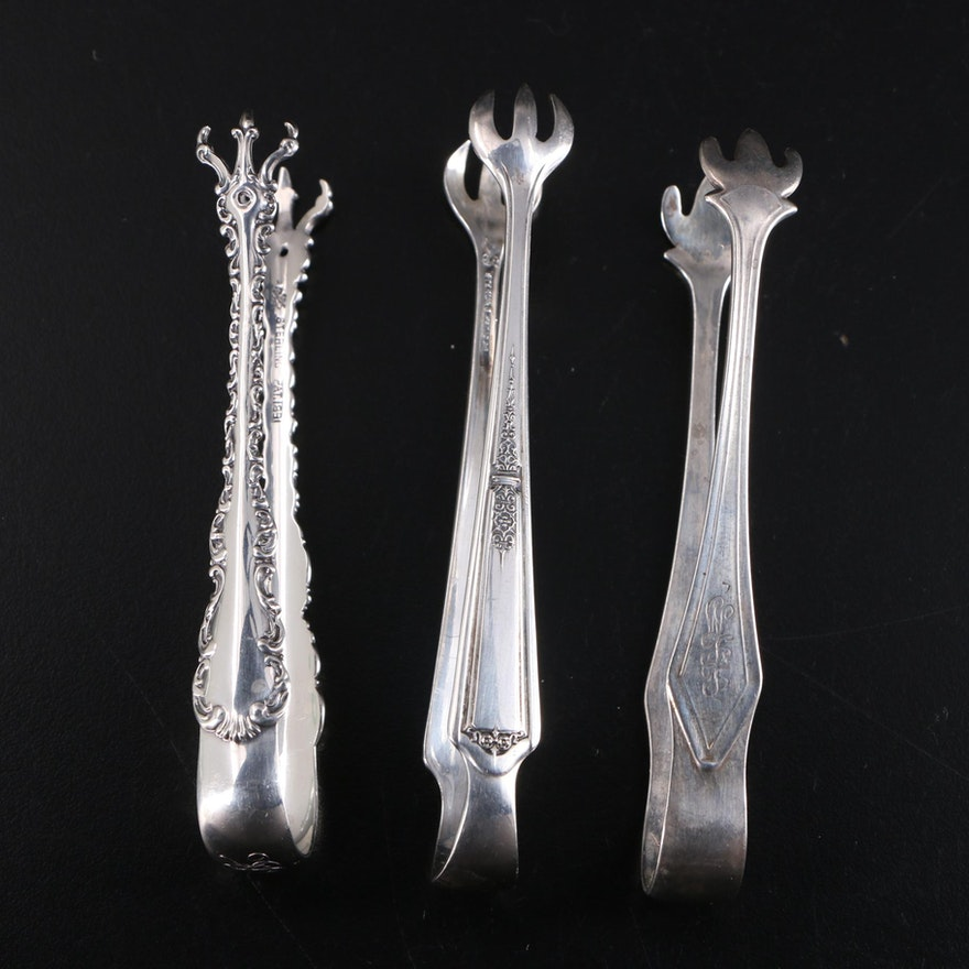 """Whiting Mfg. Co. """"Louis XV"""", Towle, and Manchester Sterling Silver Sugar Tongs"""