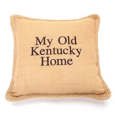 "Burlap ""My Old Kentucky Home"" Accent Pillow, Contemporary"