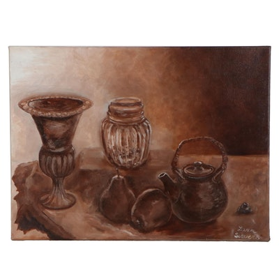 "Larissa Sievers Monochrome Oil Painting ""Still Life,"" 2019"