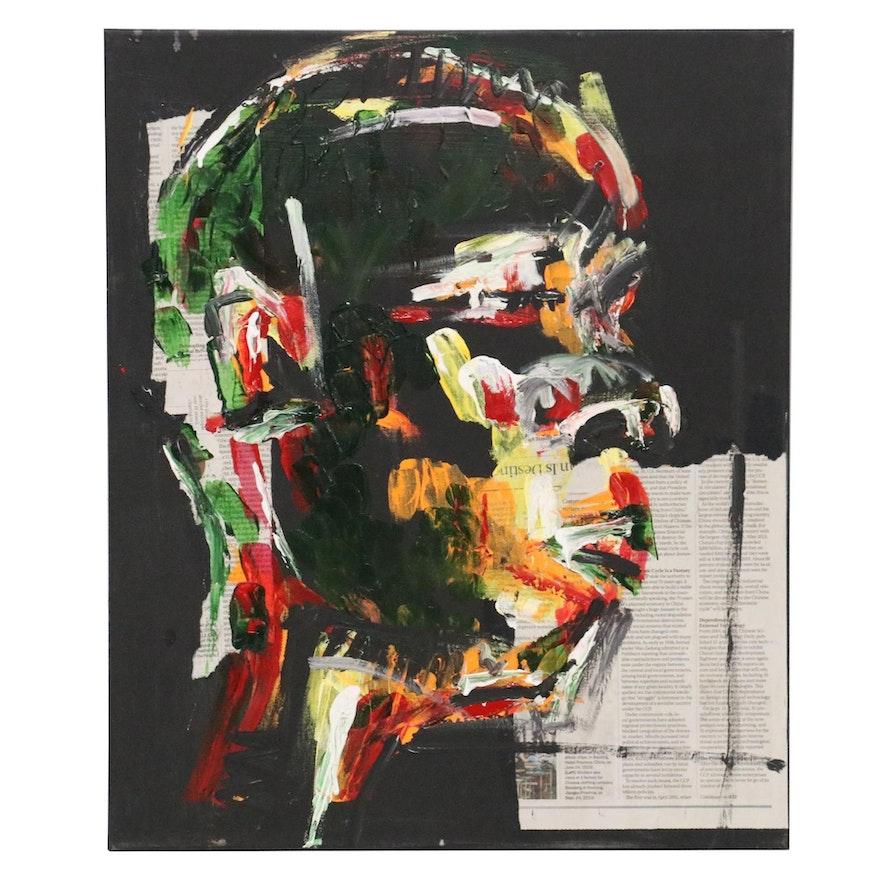 Stephen Aifegha Abstract Mixed Media Portrait, 2020