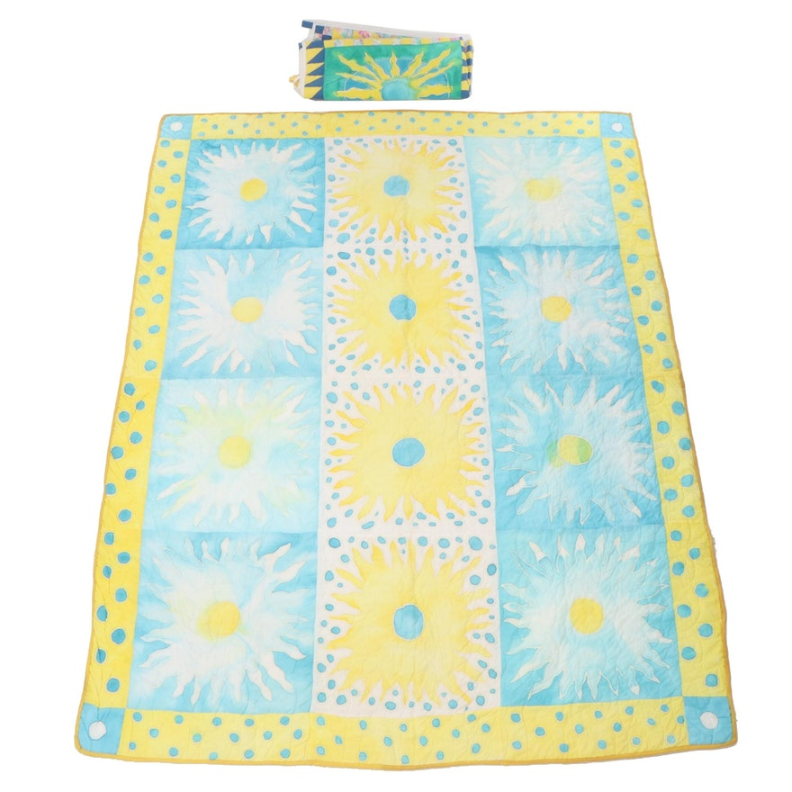 American Made Brand Watercolor Sun Pattern Quilt and Wall Hanging