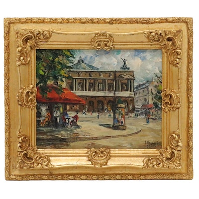 A. Valentin Parisian Street Scene Oil Painting, Late 20th Century