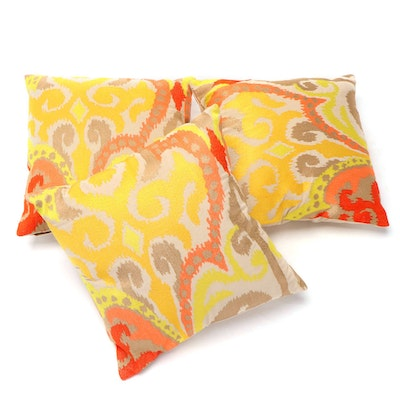 Three Surya Metallic Printed Accent Pillows