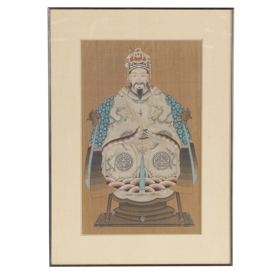 Chinese Gouache Ancestral Portrait