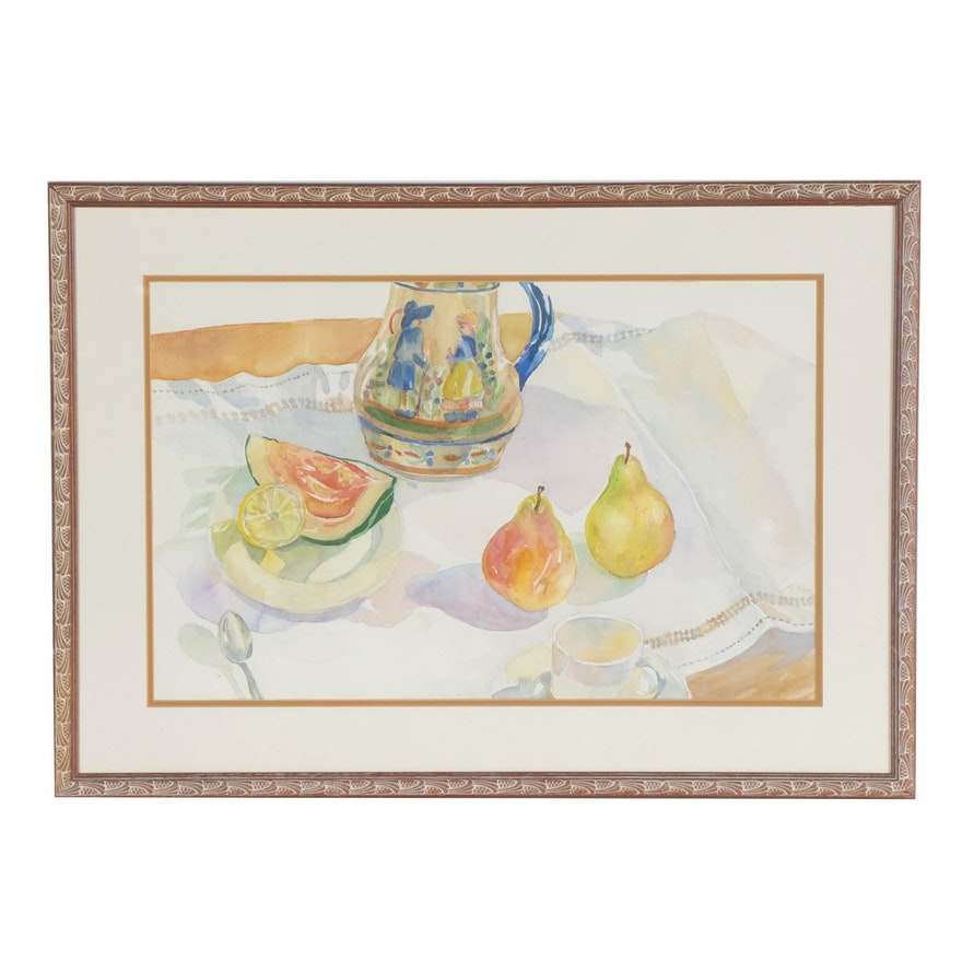 Tablescape Watercolor Painting, Late 20th Century
