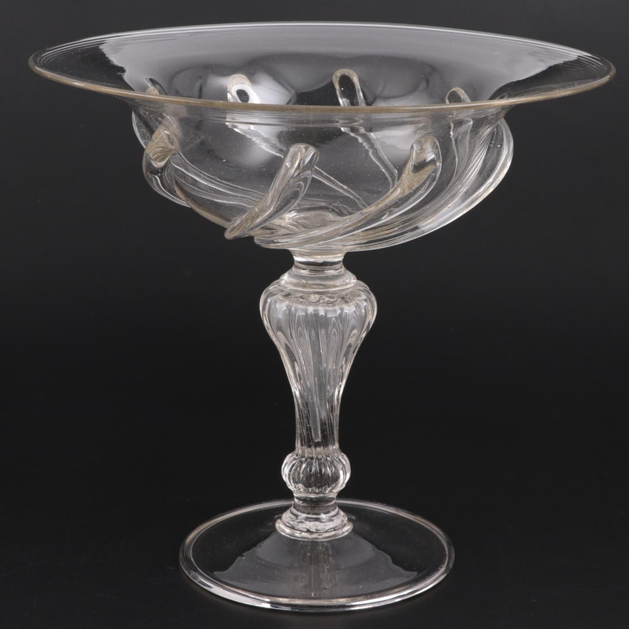 Blown Glass Compote Centerpiece Bowl
