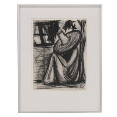 Barbara Grizzard-Barham Charcoal Drawing of Seated Figure with Hat, 1995