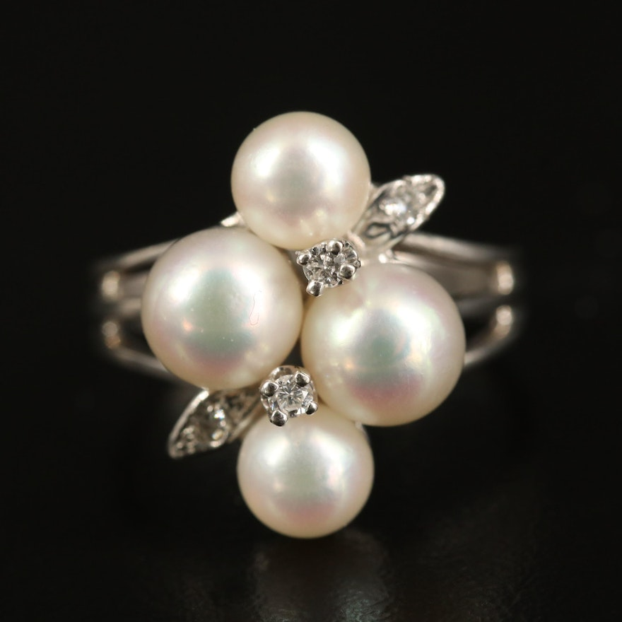 14K Pearl and Diamond Cluster Ring