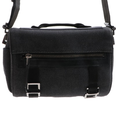 Gucci Camera Shoulder Bag in Black Denim with Leather and Canvas Trim
