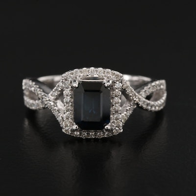 14K 1.04 CT Sapphire and Diamond Halo Ring with Twist Shoulders