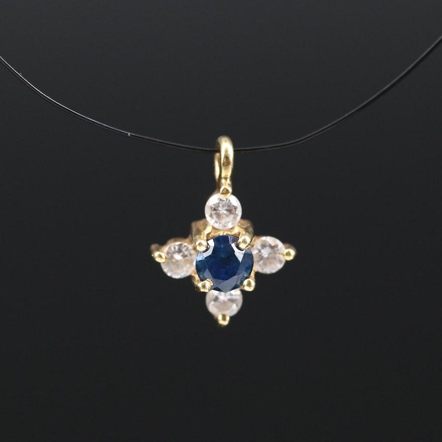 18K Sapphire and Diamond Quatrefoil Pendant