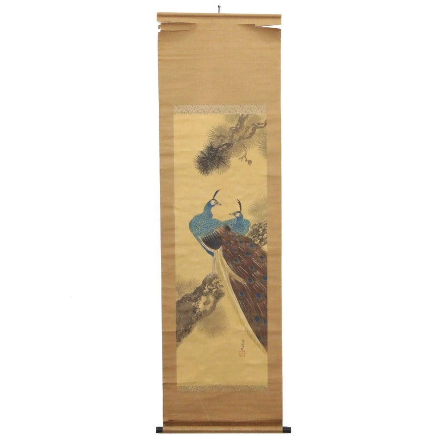 Japanese Gouache Painting of Peacocks on Hanging Scroll