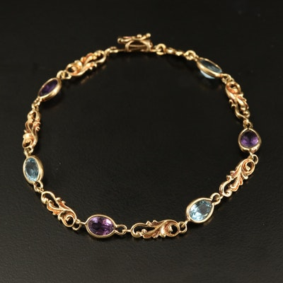 14K Topaz and Amethyst Fancy Link Bracelet