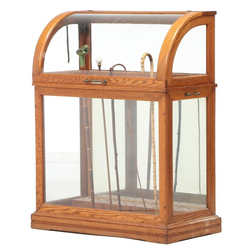 Moxey, Gill & Howlett, Philadelphia, Oak Cane Collector's Display Case
